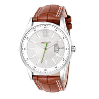 Timesmith White Dial Brown Leather Strap Day Date Men's Watch