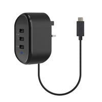Promate - USB Wall Charger, Heavy Duty Home Charger with 3 USB Ultra-Fast Charging Ports, Smart Current Detection and Built-In 1M USB Type-C™ Cable for Samsung, Huawei, OnePlus, Tablets, Smartphones, MP3, MP4, Tornado-3C Black UK