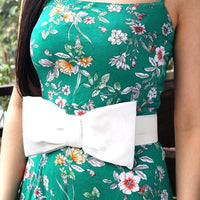 White Satin Bow Elasticated Waist Belt