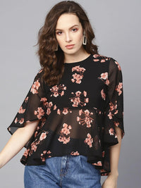Women Black & Pink Printed A-Line Top