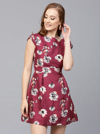 Women Burgundy & Grey Printed Fit and Flare Dress