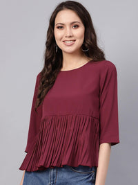 Women Maroon Solid A-Line Top