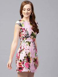 Women Pink & Green Printed Fit and Flare Dress