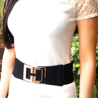 Women Black Leather Waist Belt With Gold Geometric Design Buckle