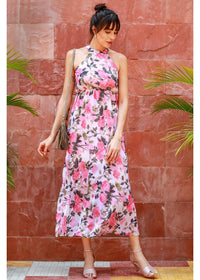 Women Cream-Coloured & Pink Printed Maxi Dress