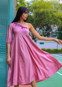 Women Dusty Pink One-Shoulder Solid Fit & Flare Dress