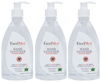 ExcelMed Hand Sanitizer Gel 500ml (Package of 3), Advanced Formula