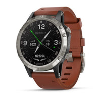 Garmin D2 Delta PX Aviator Watch with Brown Leather Band Case