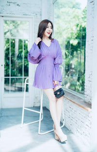 Thai Fashion Jumpsuit Dress - purple long sleeve
