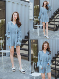 Thai Fashion Jumpsuit Dress - light blue