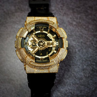 Luxury Watch G-Shock Crystal Bling GA-110 Gold Iced Out