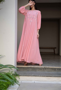 Fatima with Love -  Pink Chiffon With Pink & White Embroidery Kaftan