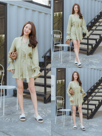 Thai Fashion Jumpsuit Dress - light green