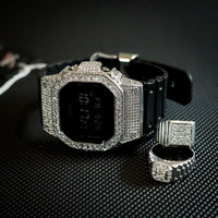 Luxury Watch G-Shock Crystal Bling DW-5600 White Silver Iced Out