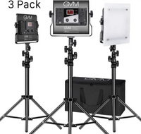 GVM 3 Pack LED 480LS-B3L KIT Video Lighting Kits with APP Control, Bi-Color