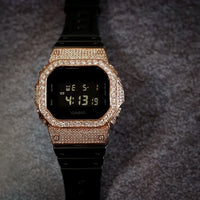 Luxury Watch G-Shock Crystal Bling DW-5600 Rosegold Iced Out