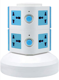 2 Layers Extension Outlet With 2 USB Ports, Universal Vertical Multi Socket, 2.8M Cord and UK-Plug Multi Charging Station (Blue)