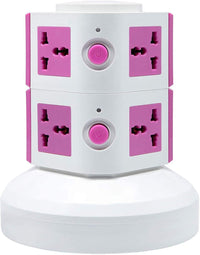 2 Layers Extension Outlet With 2 USB Ports, Universal Vertical Multi Socket, 2.8M Cord and UK-Plug Multi Charging Station (Pink)