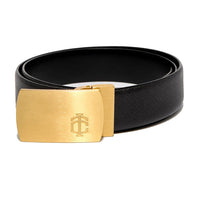 Black Saffiano Leather Belt Strap + Brashy Imperial - Gold Buckle