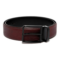 Burgandy Saffiano Leather Belt Strap + Imperial Piercer - Black Buckle