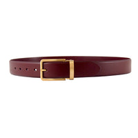 Burgundy Italian Leather Belt Strap + Imperial Piercer - Gold Buckle