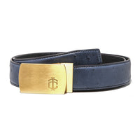 "Ostrich ""Full Quill"" Teal Blue Belt Strap + Brashy Imperial - Gold Buckle"