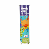 CocoMoco Kids - Interactive World Map with Reusable Stickers Activity Kit