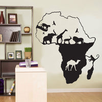 Spoil Your Wall - Wall Decal Africa Map Black 100x113centimeter