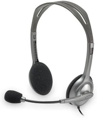 Logitech H110 Stereo 3.5 mm Jack On-Ear Noise Cancelling Headset, Grey