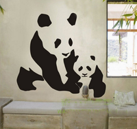 Spoil Your Wall - Wall Decal Panda With Baby Black 90x75centimeter