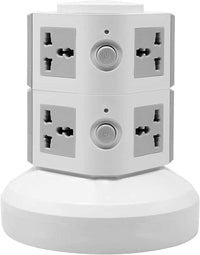 2 Layers Extension Outlet With 2 USB Ports, Universal Vertical Multi Socket, 2.8M Cord and UK-Plug Multi Charging Station (Gray)