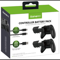 GameWill Rechargeable Controller Battery Pack [2-PACK] High Power [1200 mAh] for Xbox Series X and Series S (also compatible with Xbox Series One X/S) - Black