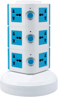3 Layers Extension Outlet With 2 USB Ports, Universal Vertical Multi Socket, 2.8M Cord and UK-Plug Multi Charging Station (Blue)
