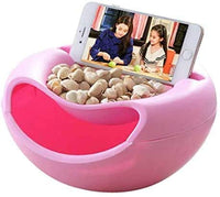 Snack Bowl, Double Dish Dry Fruits Bowl With Cellphone Holder Slot, Ideal For Serving Sunflower Seeds, Peanuts, Etc (Pink)