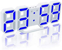 3D Digital Alarm Clock,ShowTop Wall LED Number Time Clock, With 3 Auto Adjust Brightness Levels,With Snooze Function,Modern Night Light Clock Date,Temperature Display White/Blue By SHOP ON THE GO
