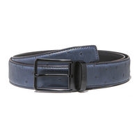 "Ostrich ""Full Quill"" Teal Blue Belt Strap + Imperial Piercer - Black Buckle"