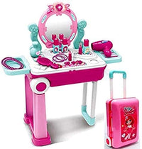Girls Pretend Toy Suitcase Kids Makeup Dressing Table With Mirror Play House Toys
