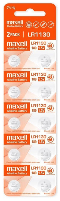 Maxell LR1130 (189) 1.5V Alkaline Button Cell Batteries – 10 Pieces