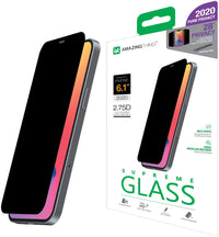 Amazing Thing Privacy Supreme Glass Full cover for iPhone 12 and iPhone 12 PRO Screen Protector (6.1 inch) Tempered Glass with Dust Filter and Easy Install Tray - [PRIVACY 2.75D]