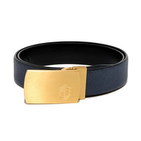 Navy Blue Saffiano Leather Belt Strap + Brashy Imperial - Gold Buckle