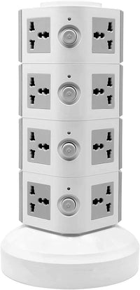 4 Layers Extension Outlet With 2 USB Ports, Universal Vertical Multi Socket, 2.8M Cord and UK-Plug Multi Charging Station (Gray)
