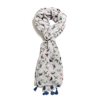 Scarf Affair Butterfly Blue Tassel