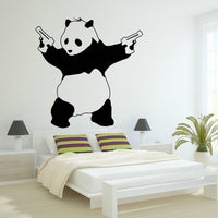 Spoil Your Wall - Gangster Panda Wall Decal Black 100x95centimeter