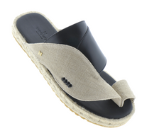 Neqwa Arabic Traditional Sandals Marbella - Linen Black Leather