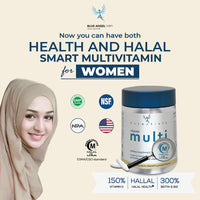 Blue Angel Farm | Halal Certified | Women's Multi Vitamin & Mineral | High in Vitamin D, B12, Biotin | +Glutathione +Probiotics +CoQ10 | Daily multivitamin tablet (60 tabs)