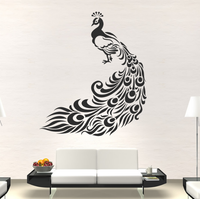 Spoil Your Wall - Wall Decal Peacock Black 100x85centimeter