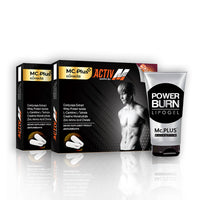 Mc.PLUS ACTIV M (For Men) a Dietary Supplement Product for Losing Weight 2 Boxes + Mc.PLUS POWER BURN (Reduce Fat Sliming Gel Cool Cream) 1 tube