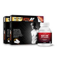 Mc.PLUS ACTIV M (For Men) a Dietary Supplement Product for Losing Weight 2 Boxes + Night Time Fat Burner 1 Bottle