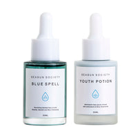 Clean Plant Based Face Duo Kit with Blue Spell Facial Oil & Youth Potion Multivitamin Face Serum by Seasun Society