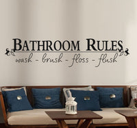 Spoil Your Wall - Wall Decal Bathroom Rules Black 100x25centimeter